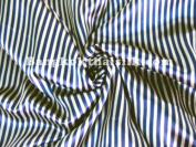 Satin Charmeuse Pin Stripe Gold & Blue 110cm W By the Yard.