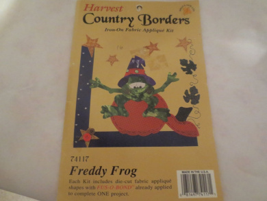 Harvest Country Borders Iron-On Fabric Applique Kit -- Freddy Frog