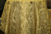 Montecarro Collection,colour Gold 100 Jacquard Floral, Fabric By the Yard