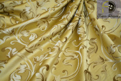 Montecarro Collection, Colour Gold 400 Jacquard Floral, Fabric By the Yard