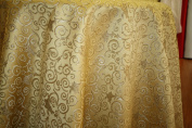 Montecarro Collection, Colour Gold 300 Jacquard Floral, Fabric By the Yard