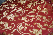 Montecarro Collection, Colour Red 400 Jacquard Floral, Fabric By the Yard