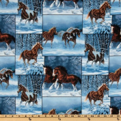 Wild Wing Horse Patch Blue Fabric