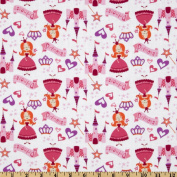 Little Princess Tossed Princess White Fabric