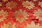 Red Jacquard Brocade Fabric with a Nice Flower Design