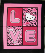 110cm Wide HELLO KITTY Cheetah Love Cotton Fabric By The Panel
