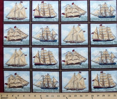 Ancient Mariners Picture Frames Ship Ships Ocean Sea Cotton Fabric Print (CP34979-B116115)