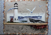 90cm x 110cm PANEL By the Sea Lighthouse Wallhanging Cotton Fabric Panel