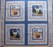 90cm x 110cm PANEL By the Sea Framing Quilting Pillow Panel Cotton Fabric Square as Shown