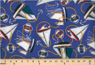 Cotton Nautical Sail Sailboats Yachts Anchors on Blue Cotton Fabric Print (34977-F226115)