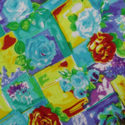 Cotton Blend Fabric Crafting Blue Floral Print Sewing Drape Apparel By the Yard