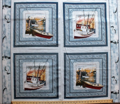 90cm x 110cm 4 Squares PANEL Fishing Boat Framing Quilting Pillow Panel Cotton Fabric (CP6672-1606115)