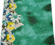 Crafted Fabric Green Cotton Poplin Floral Pattern Craft Apparel Drape By the Yard
