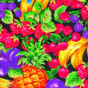 Gardening Fruit Lined Fabric 1yd by 140cm Wide Fruit 100% Cotton Material Lined on Underside For Sewing Projects like Tablecloths, Tablecovers, Aprons - Top Rated Quality 22% more FABRIC than 110cm width