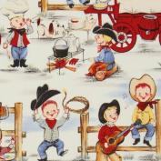 funny Michael Miller vintage fabric cowboy boys