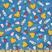110cm Wide The Cat's Meow Cats' Dream World Blue Fabric By The Yard