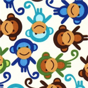 off-white fabric with colourful monkeys Robert Kaufman
