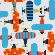 white organic fabric colourful planes by Robert Kaufman