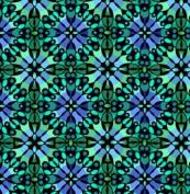 In the Beginning - Jason Yenter - 'Return to Atlantis' Mosaic Green/Blue Cotton Fabric By the Yard