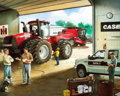 Case IH Tractor and Combine Cotton Fabric Panel, 90cm x 110cm