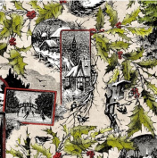 In the Beginning 'Winter Wonderland' Collage on Taupe Christmas Cotton Fabric by the Yard