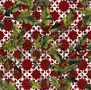 In the Beginning 'Winter Wonderland' Holly on Red Christmas Cotton Fabric by the Yard
