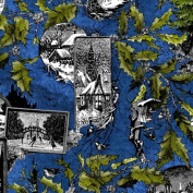 In the Beginning 'Winter Wonderland' Collage on Blue Christmas Cotton Fabric by the Yard