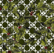 In the Beginning 'Winter Wonderland' Holly on Green Christmas Cotton Fabric by the Yard