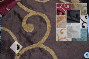 Kings Road Embroidered Fabric with Towel/scroll Pattern, Colour Chocolate, 150cm , Sold Bye the Yard