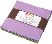 Robert Kaufman KONA COTTON NEW DUSTY Charm Pack 13cm Fabric Squares CHS-136-41