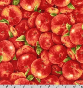 Robert Kaufman 'Fresh Apples' Packed on Red Cotton Fabric By the Yard
