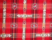 San Francisco 49ers NFL Licenced Plaid Fleece Fabric 150cm Inches Wide-By The Yard