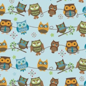 Hooty Hoot Returns Roll Call Sky Blue F3441 Riley Blake Flannel Fabric by the yard