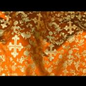 Orange/gold Metallic Church Brocade 110cm Per Yard