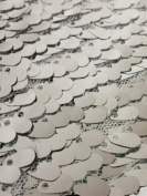 Oval Sequin Fabric - Shiny Drop Sequin on Poly Mesh - SILVER 140cm Sold BTY