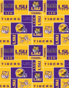 College LSU Tigers Louisiana State University 012 Print Fleece Fabric By the Yard