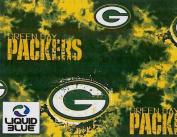 NFL Green Bay Packers Liquid Blue Football Print Fleece Fabric By the Yard