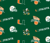 College University of Miami Hurricanes 035 Print Fleece Fabric By the Yard