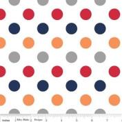 Riley Blake Basics Polka Dot Boy Flannel Fabric SKU F360-02 Red Orange Grey Navy