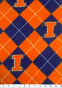 NCAA Fleece Fabric-University of Illinois Argyle