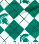 College Michigan State University Spartans Argyle Fleece Fabric Print By the Yard