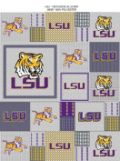 College LSU Louisiana State University Tigers Grey Patchwork Print Fleece Fabric By the Yard
