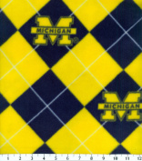 College University of Michigan Wolverines Argyle Fleece Fabric Print By the Yard