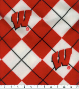 NCAA Fleece Fabric-Wisconsin Argyle