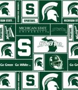 College Michigan State University Spartans Dark Green Print Fleece Fabric By the Yard
