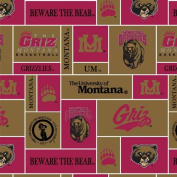 College University of Montana Grizzlies Grizz 012 Print Fleece Fabric