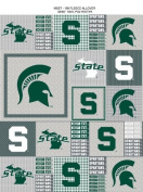 College Grey Michigan State University Spartans Grey Patchwork Print Fleece Fabric By the Yard