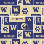 College University of WashingtonTM HuskiesTM Fleece Fabric Print By the Yard