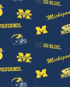 College University of Michigan Wolverines Navy Print Fleece Fabric By the Yard