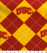 College USC University of Southern California Argyle Fleece Fabric Print By the Yard